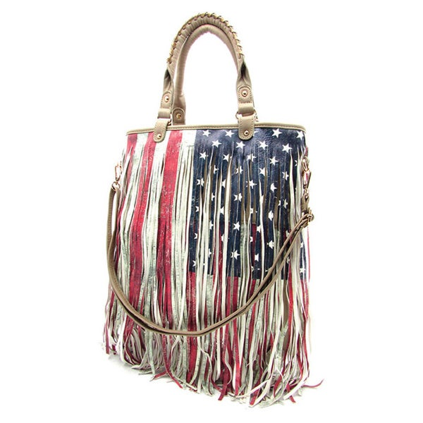 America Flag Ivory Fringe Handbag