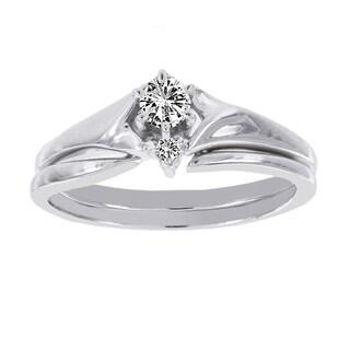 H Star 14k White Gold 1/5ct Diamond Bridal Ring Set (I-J, I2-I3)