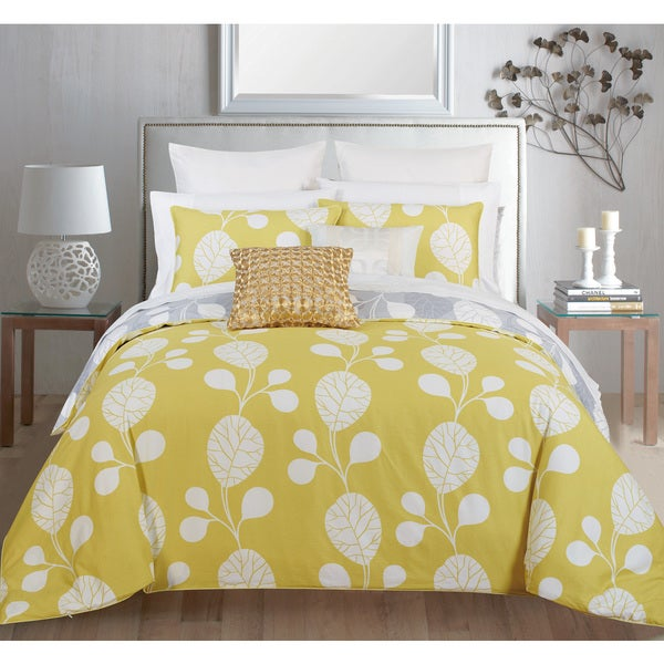 Couture Home Collection Lilliana Reversible Green Leaf 3-piece Duvet Cover Set