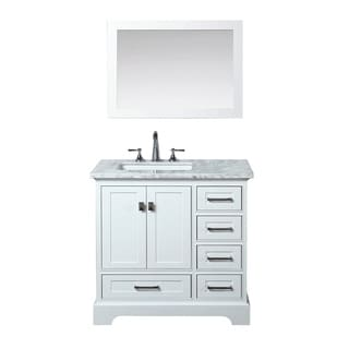 Stufurhome White 36-inch Single Sink Bathroom Vanity with Mirror