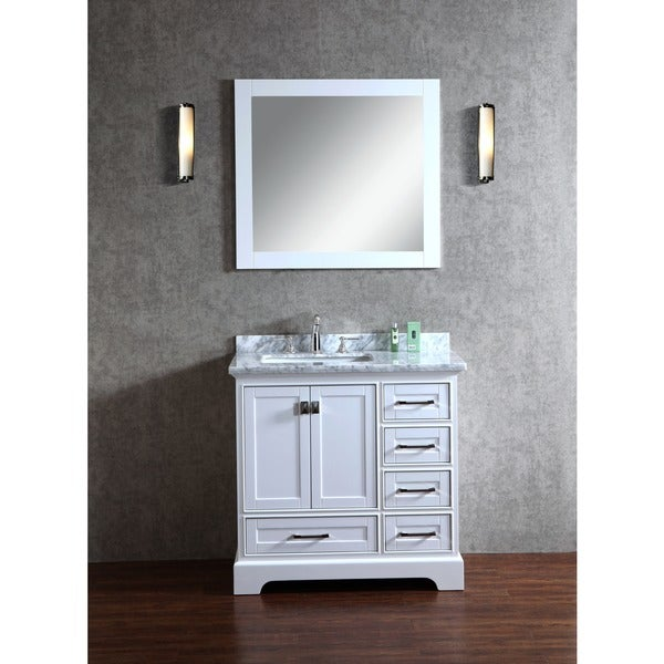 Stufurhome White 36 Inch Single Sink Bathroom Vanity With Mirror