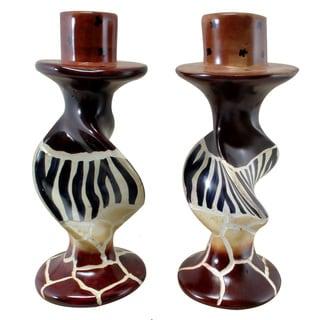 Animal Stripes on Bold Twists Soapstone Pair of Candleholders , Handmade in Kenya