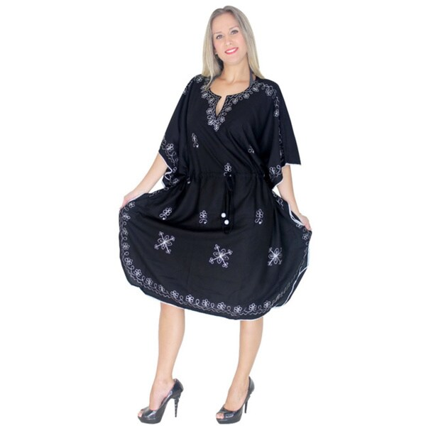 La Leela Black/ White Embroidery Beach Swim Kaftan Cover Up