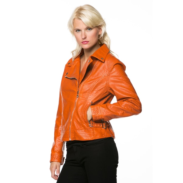 Women's Orange Zip-up Faux Leather Moto Jacket