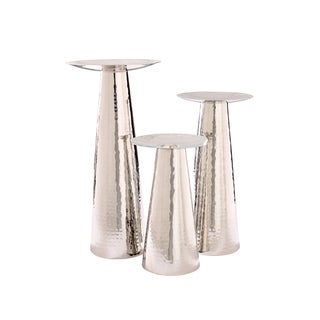 Nestor Silver Hammered Metal Candle Holders (Set of 3)