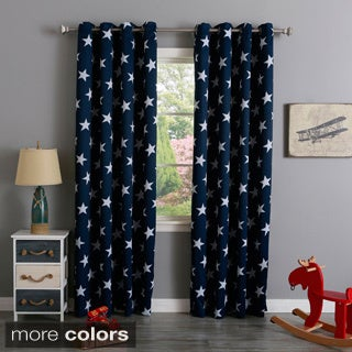 Lights Out Room Darkening Big Star Print Silver Grommet Top Curtain Pair