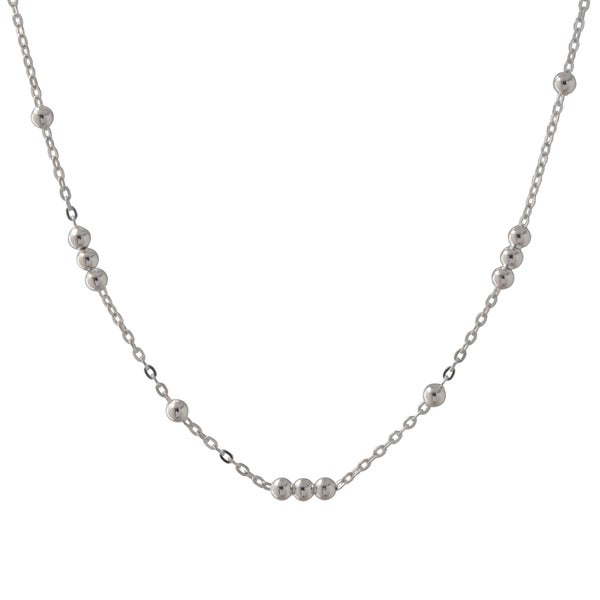 Sterling Silver Italian Bead Station Necklace