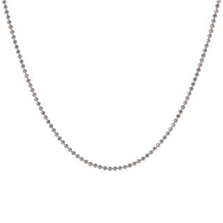 Sterling Silver Italian 20-inch Diamond-cut Bead Necklace