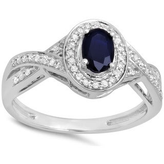 10k White Gold 3/4ct TDW Blue Sapphire 1/5ct TDW Diamond Swirl Split Shank Halo Engagement Ring (I-J, I2-I3)