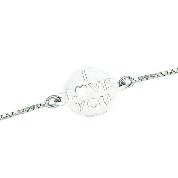 Rhodium-plated Sterling Silver 'I Love You' Engraved Disc Anklet