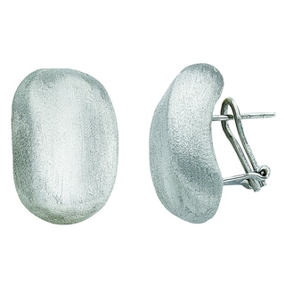 Rhodium-plated Sterling Silver Italian Brushed Electroform Oval Button French Back Earrings