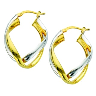 Two-tone Sterling Silver Italian Double Curved Intertwined Hoop Earrings