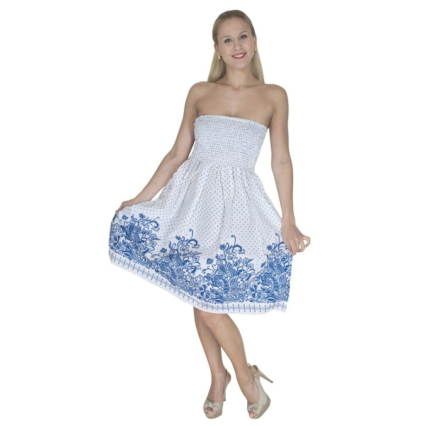 Women's Blue/ White Polka Dot Print Tube Dress Cover-up