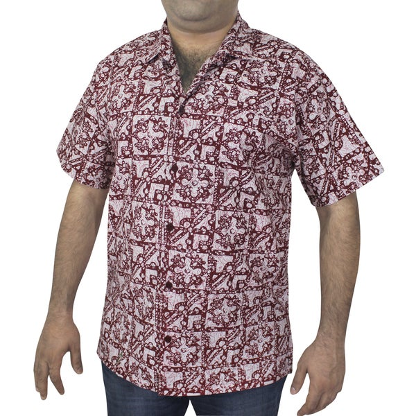 Men's 100-percent Cotton Red Printed Hawaiian Shirt
