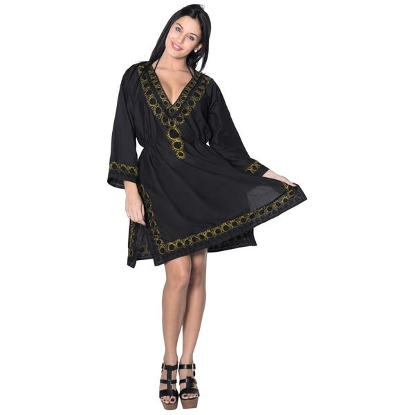 Women's Black Gold Embroidery Beach Cover-up Tunic