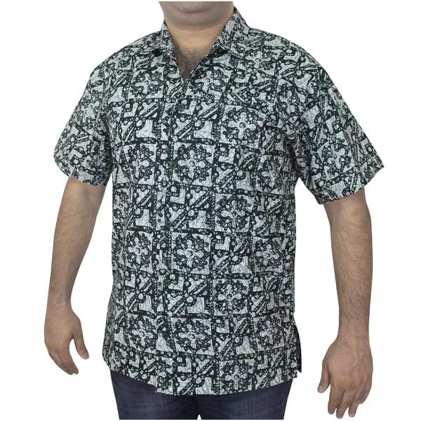 Men's 100-percent Cotton Green/ Black Printed Hawaiian Shirt