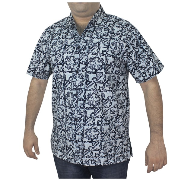 Men's 100-percent Cotton Blue Printed Hawaiian Shirt