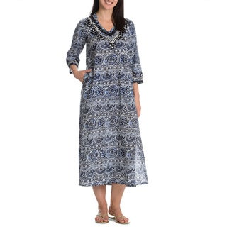 La Cera Women's Printed Tunic Dress with Embroidery Detail