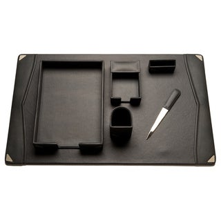 Bey Berk Grey Leather 6-piece Desk Set