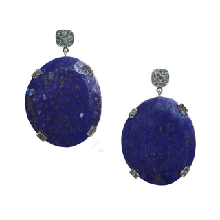 Lapis and Blue Diamond Earrings in Antiqued Sterling Silver