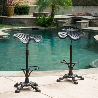 Christopher Knight Home Tofolli Swivel Adjustable Cast Aluminum Barstool (Set of 2)