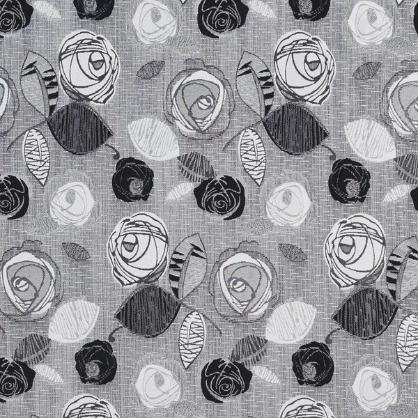 A374 Contemporary Black Silver Leaves Roses Tweed Upholstery Fabric By The Yard