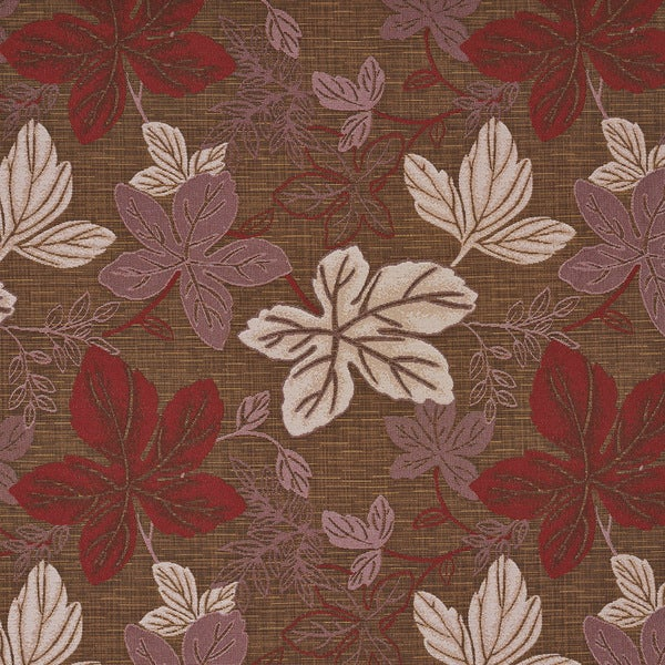 A392 Contemporary Red Pink and Brown Large Leaves Upholstery Fabric By The Yard
