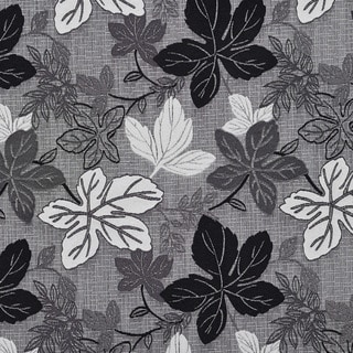 A390 Contemporary Black and Silver Large Leaves Upholstery Fabric By The Yard