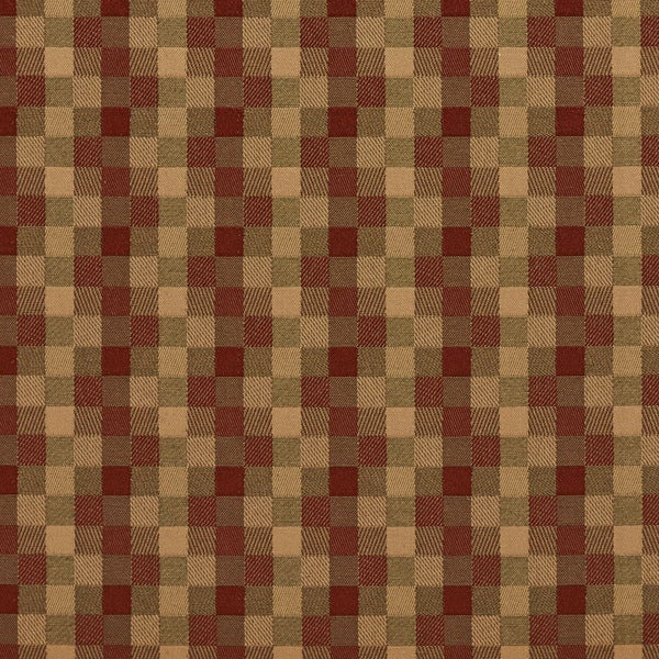B0240c Red and Green Checkered Silk Satin Look Upholstery Fabric By The Yard