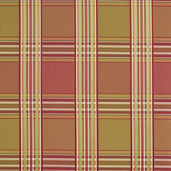 B0220b Pink Peach Green Stripes Plaid Silk Look Upholstery Fabric By The Yard