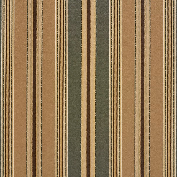 B0190b Green Brown Various Size Striped Silk Look Upholstery Fabric By The Yard