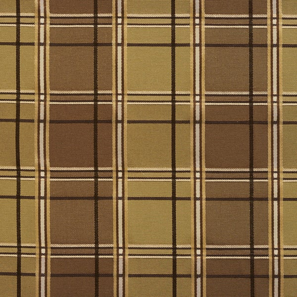 B0200a Green Brown Multi Color Plaid Silk Look Upholstery Fabric By The Yard