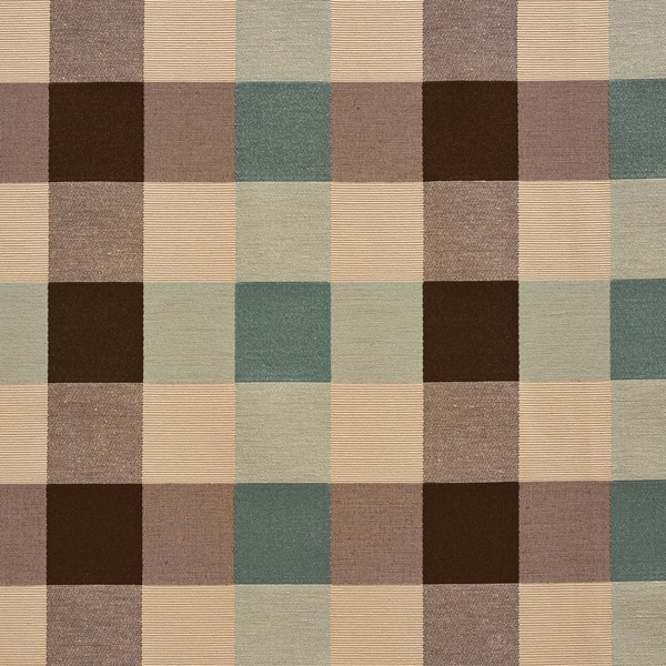B0170a Teal Cream Brown Large Check Silk Look Upholstery Fabric By The Yard