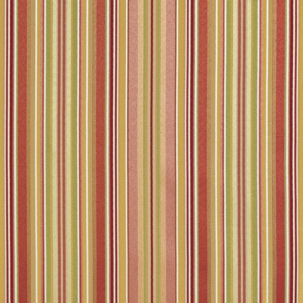 B0160a Pink Burgundy Gold Green Shiny Stripe Silk Upholstery Fabric By The Yard