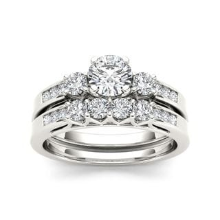 De Couer 14k White Gold 1 1/4ct TDW Diamond Three-Stone Engagement Ring Set (H-I, I2)