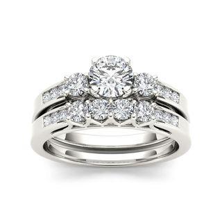 De Couer 14k White Gold 1 1/4ct TDW Diamond Three-Stone Engagement Ring Set (H-I, I2)