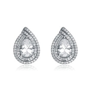Collette Z Sterling Silver Cubic Zirconia Pear Shape Earrings