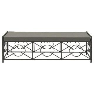 Black Metal Fabric Outdoor Bench