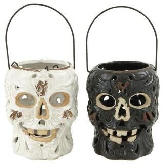 Black/ White Ceramic Skull Lanterns