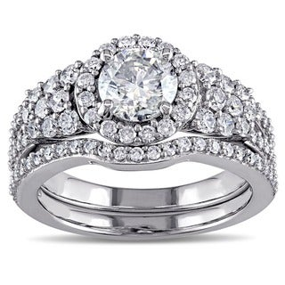 Miadora Signature Collection Signature 10k White Gold 2 ct TDW Halo-style Bridal Set (G-H, I2-I3)