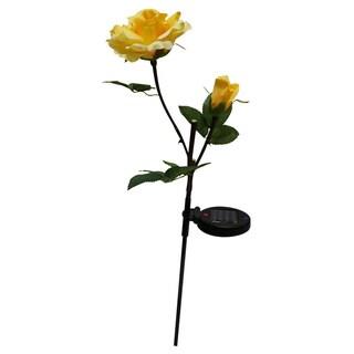 Solar Yellow Rose Garden Stake