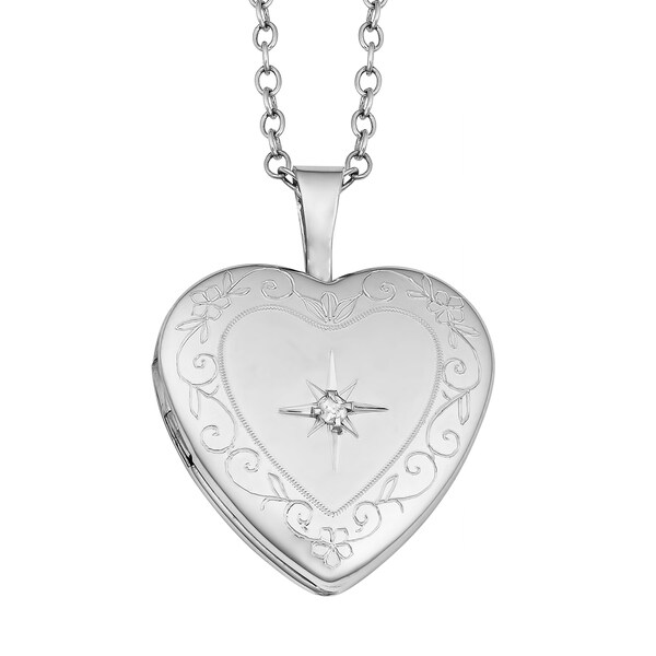 Fremada Sterling Silver Heart with Diamond Accent Locket Necklace