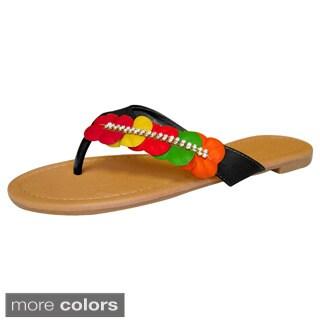 Peach Couture Women's Hawaiian Flower Flip Flop Sandals