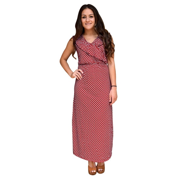Peach Couture Polka Dot Sleeveless Ruffle Neck Maxi Dress