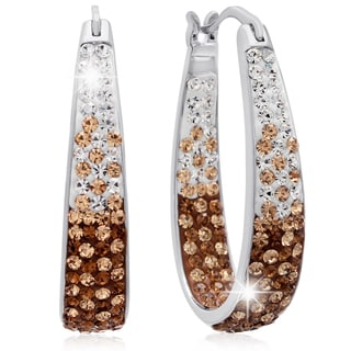 Ombre Champagne Swarovski Elements Crystal Hoop Earrings, 1 Inch