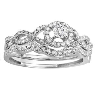 14k White Gold 3/5ct TDW Diamond Halo Bridal Engagement Ring (H-I, I1-I2)