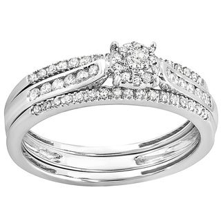 14k White Gold 2/5ct TDW Round Diamond Bridal Ring Set (I-J, I1-I2)