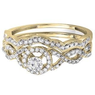 14k Yellow Gold 3/5ct TDW Round Diamond Halo Bridal Ring Set (H-I, I1-I2)