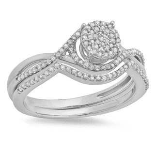 Sterling Silver 1/3ct TDW Round Diamond Micropave Twisted Split Shank Bridal Ring Set (I-J, I2-I3)
