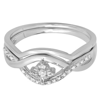 Sterling Silver 1/10ct TDW Diamond Crossover Swirl Bridal Bridal Ring Set (I-J ,I2-I3)